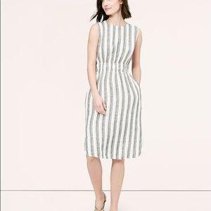 LOFT Petite Striped Linen Midi Dress